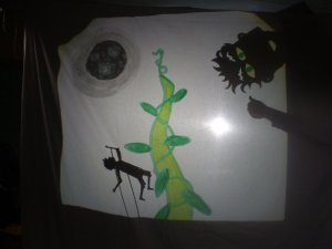 This shadow puppet on the right, made by Sarah Fitzgibbon for a Jack and The Beanstalk show as part of a workshop I facilitated for the VEC in the Seán O'Casey Centre, other sets and puppets made by members of the City Arts Squad